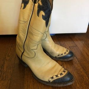 Tony Lama Vintage Cream & Blue Wester Boots